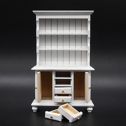 Amazon Com Odoria 1 12 Miniature White Kitchen Cabinet Cupboards
