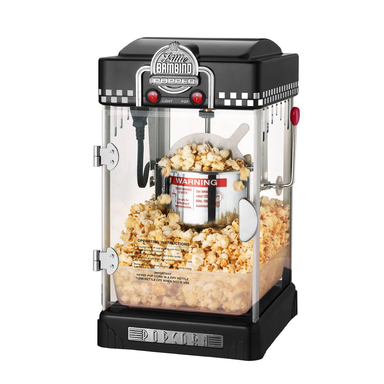 Great Northern Popcorn Company 6072 GNP Little Bambino BlackGNP Little Bambino 2-1/2 Ounce Retro Style Popcorn Popper Machine by Great Northern Popcorn Company (Image #2)