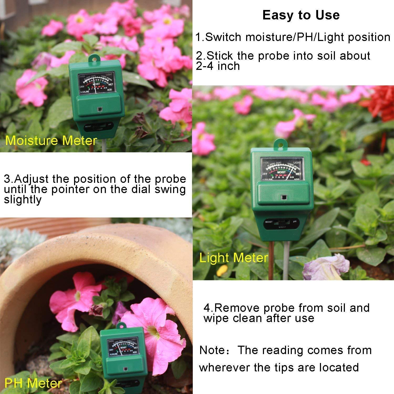 Indoor//Outdoor Use. zhongling Digital PH Soil Tester Farm Plants 3-in-1 Soil pH Meter 3-in-1 PH Moisture Sunlight Sensor Probe Meter PH Soil Test Kits Test Function for Home and Garden
