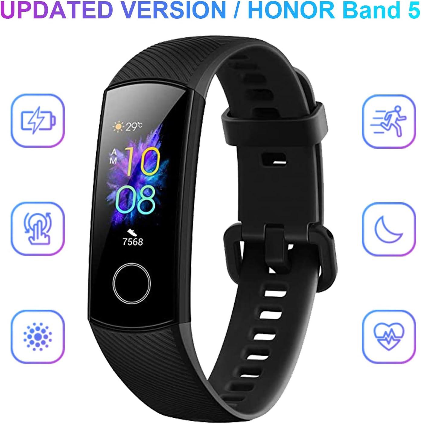 HONOR Band 5 Smartwatch, Pulsera Actividad Inteligente Impermeable IP68 con Pulsómetro, Monitor de Actividad Deportiva, Fitness Tracker con Podómetro, Negro