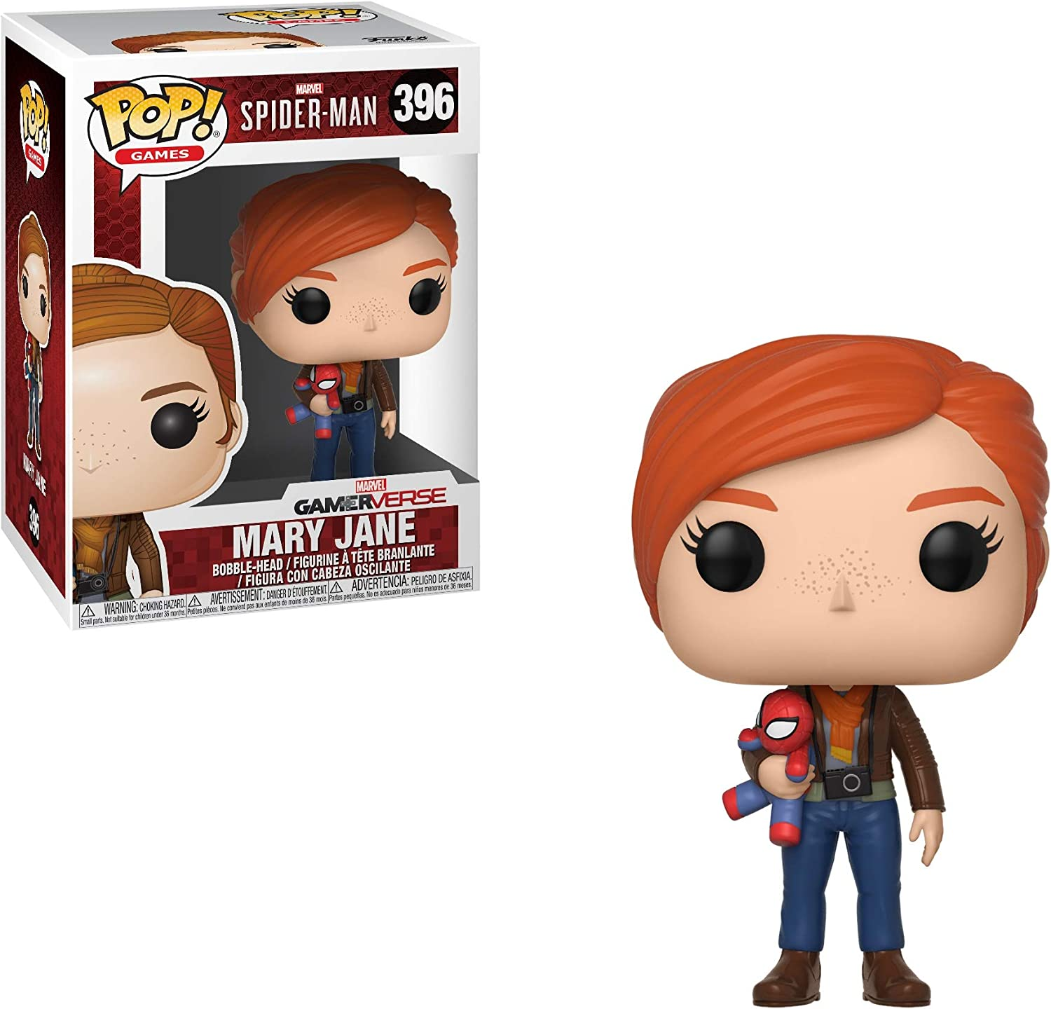 Funko Pop!- Pop Games: Marvel-Spider-Man Series 1-Mary Jane (w/Plush) Figura de Vinilo, Multicolor (30682)
