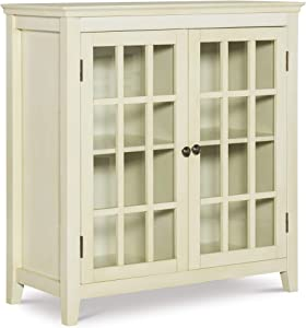 Linon Reed Distressed Double Door Cabinet, White