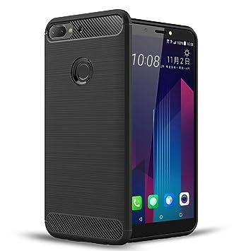 Voviqi Funda HTC Desire 12 Plus, Silicona Fundas para HTC Desire 12 Plus Carcasa HTC Desire 12 Plus Fibra de Carbono Funda Case - Negro
