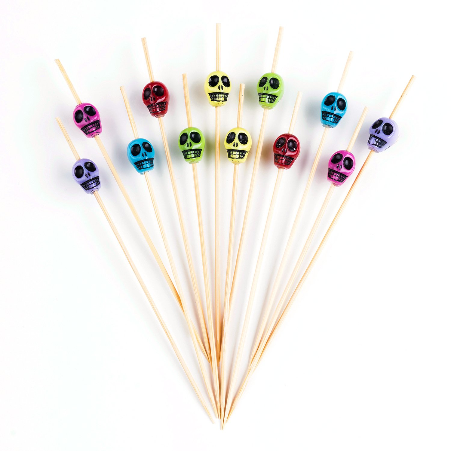 PuTwo Cocktail Toothpicks 100 Counts Cocktail Picks Handmade Natural Bamboo Cocktail Sticks Eco-Friendly Appetizer Skewers for Cocktail Appetizers Fruits Dessert Blue Fishes