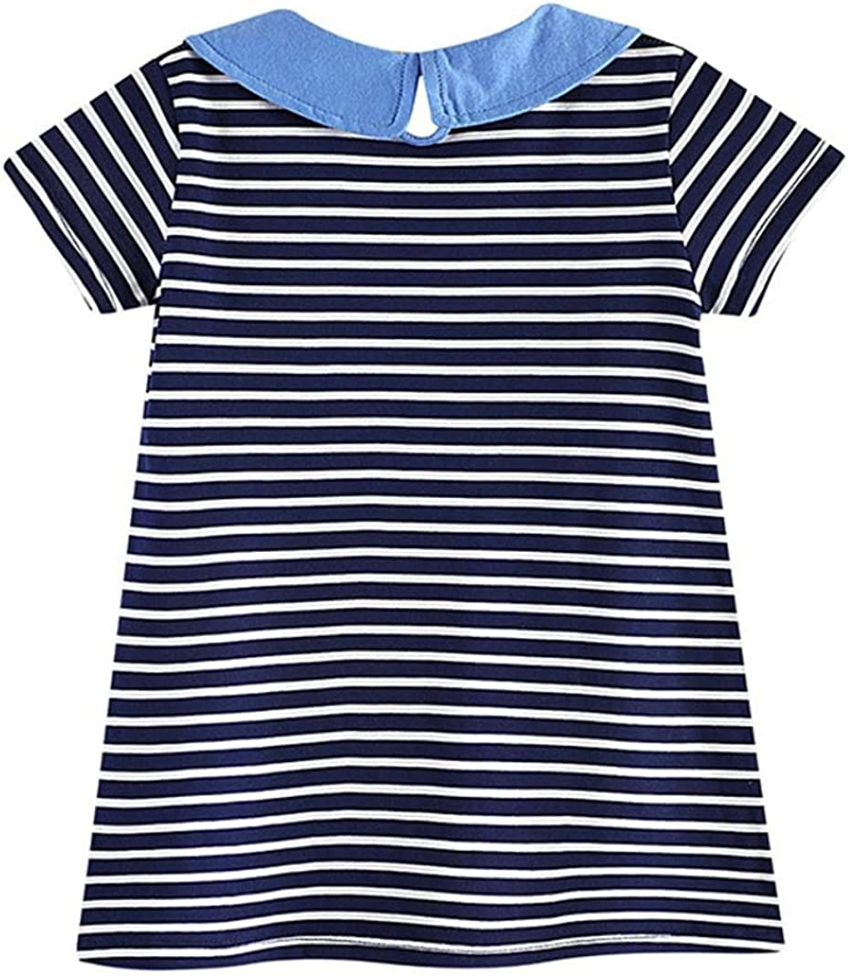 FEITONG Toddler Baby Kid Girl Rainbow Embroidery Dress Stripe Dress Outfit Clothes