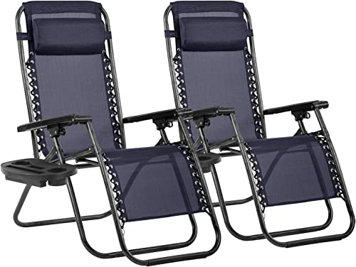 Her Majesty Zero Gravity Chair Seat Adjustable Patio Lounge Recliner Chair Set of 2