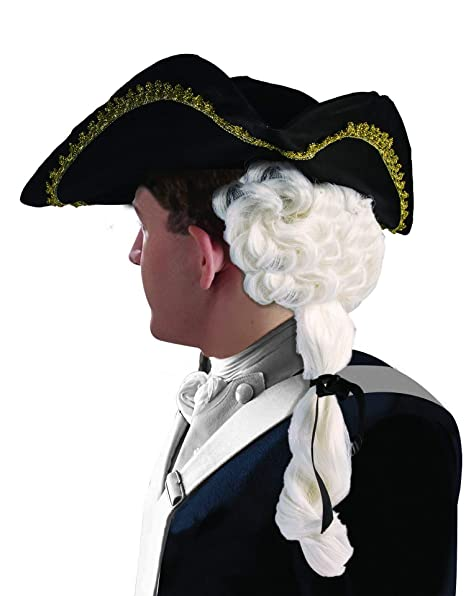 Amazon.com  Forum Novelties Men s Colonial Man Costume Hat with Wig ... 0bc8fbdc979