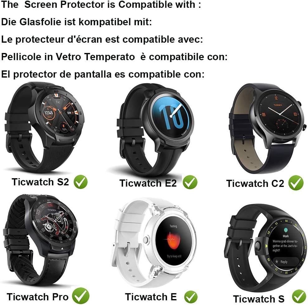 MWOOT Protector de Pantalla para Cristal del Reloj TicWatch S2 E2 ...
