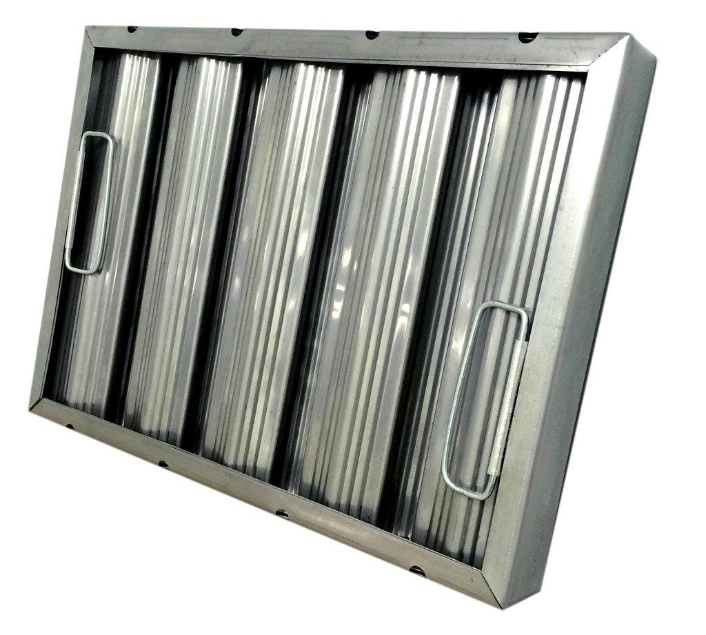 12'' tall x 16'' wide x 2'' Trine Heavy Duty Stainless Steel Restaurant Hood Baffle Filter (Dual Riveted / Ridged Baffle)