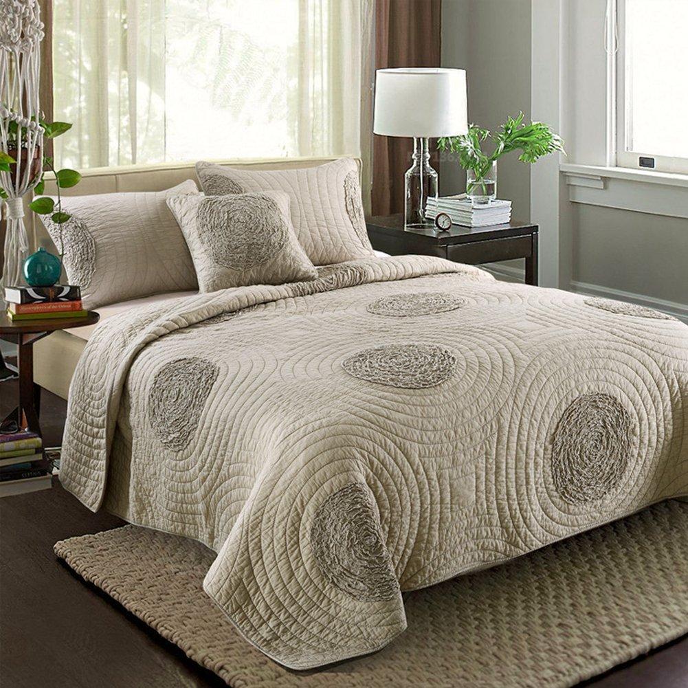 Aivedo 100% Cotton White Rose Garland Quilt Set 3 Piece Bedding Set,Bedspread Set,Comforter Set-Queen Size