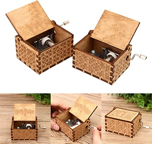 caveen manivela Caja de música retro caja de música de madera caja ...