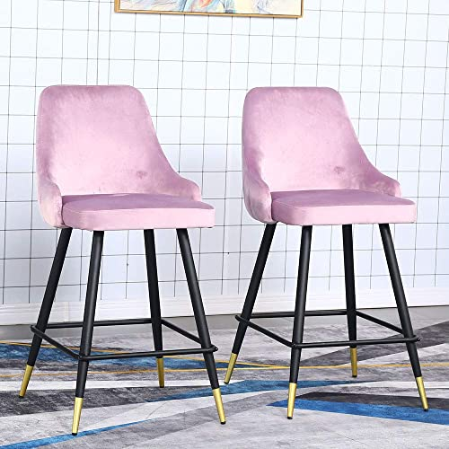 Velvet Counter Stools Set of 2 – Upholstery Barstools Bar Stools Counter Height Stools for Kitchen Island, Modern Bar Chairs Dining Chairs with Back and Arm, Pack of 2 Pieces Pink