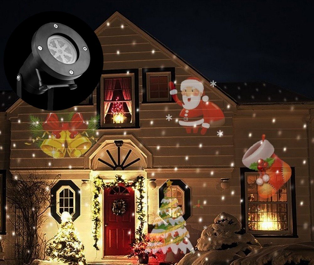 Christmas Outdoor Lights Projector, Christmas Projector Light, Outdoor Christmas Lights, 12 Slides, Wireless Remote Control Waterproof Moving Landscape Light for Christmas,Halloween,Party,Birthday by Feemoo (Image #2)