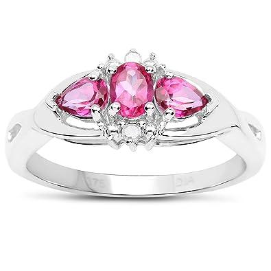 Bague et Topaze Rose : 9 carats en Or Blanc Rose Topaze et Diamant