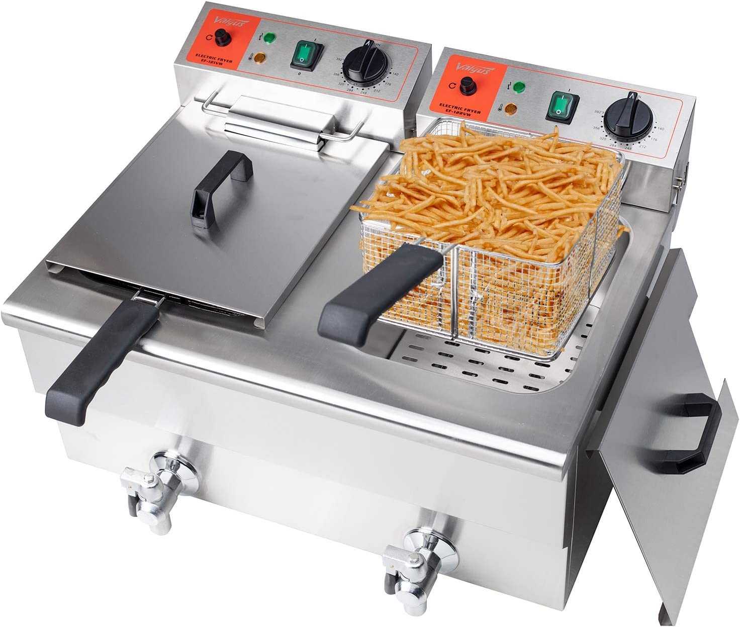 Valgus Dual Tanks Electric Deep Fryer 24L Large Capacity Stainless Steel Countertop Kitchen Frying Machine with Basket & Lid, Drain System for Restaurants Commercial Uses