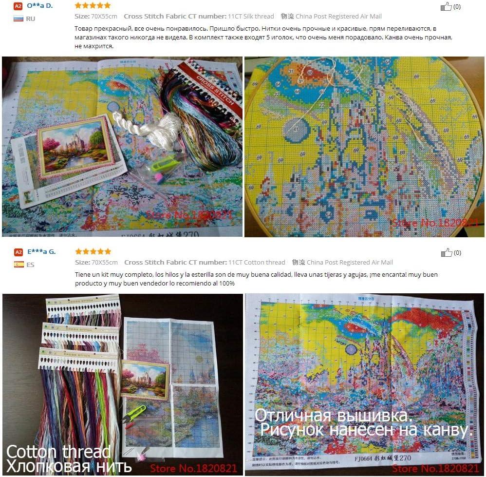 Sets for die Stickerei-Kits Pr/äzise Printed Rainbow Castle Muster Gez/ählt Kreuzstich Kreuzstich Set Size : 11CT 53x70cm Cotton XSYYQYLL Needlework DIY DMC Chinese-Kreuz-Stich
