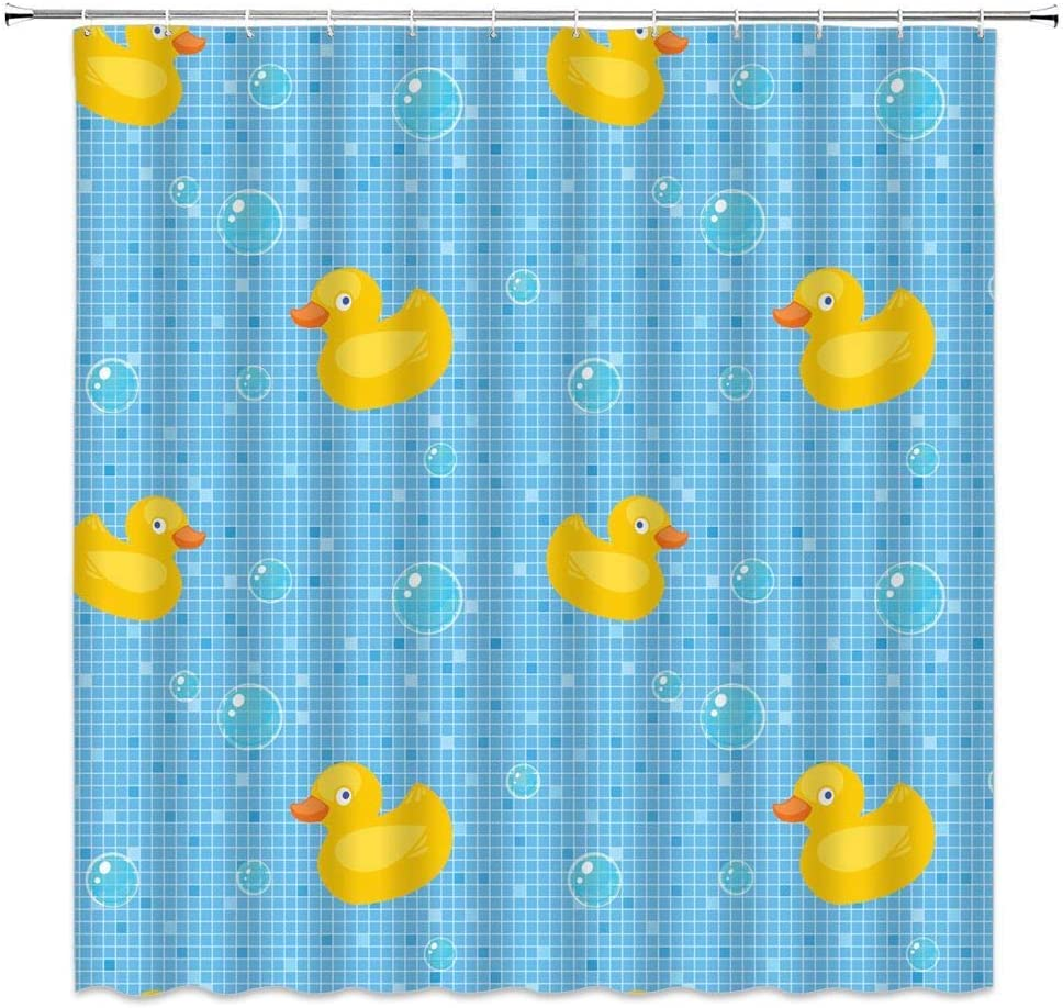 Amazon Com Rubber Duck Shower Curtain Classic Cartoon Bathing Ducks Soap Bubbles Collection Plaid Stripes Fabric Bathroom Decor Hooks Included 71 X 71 Inches Yellow Blue Kitchen Dining