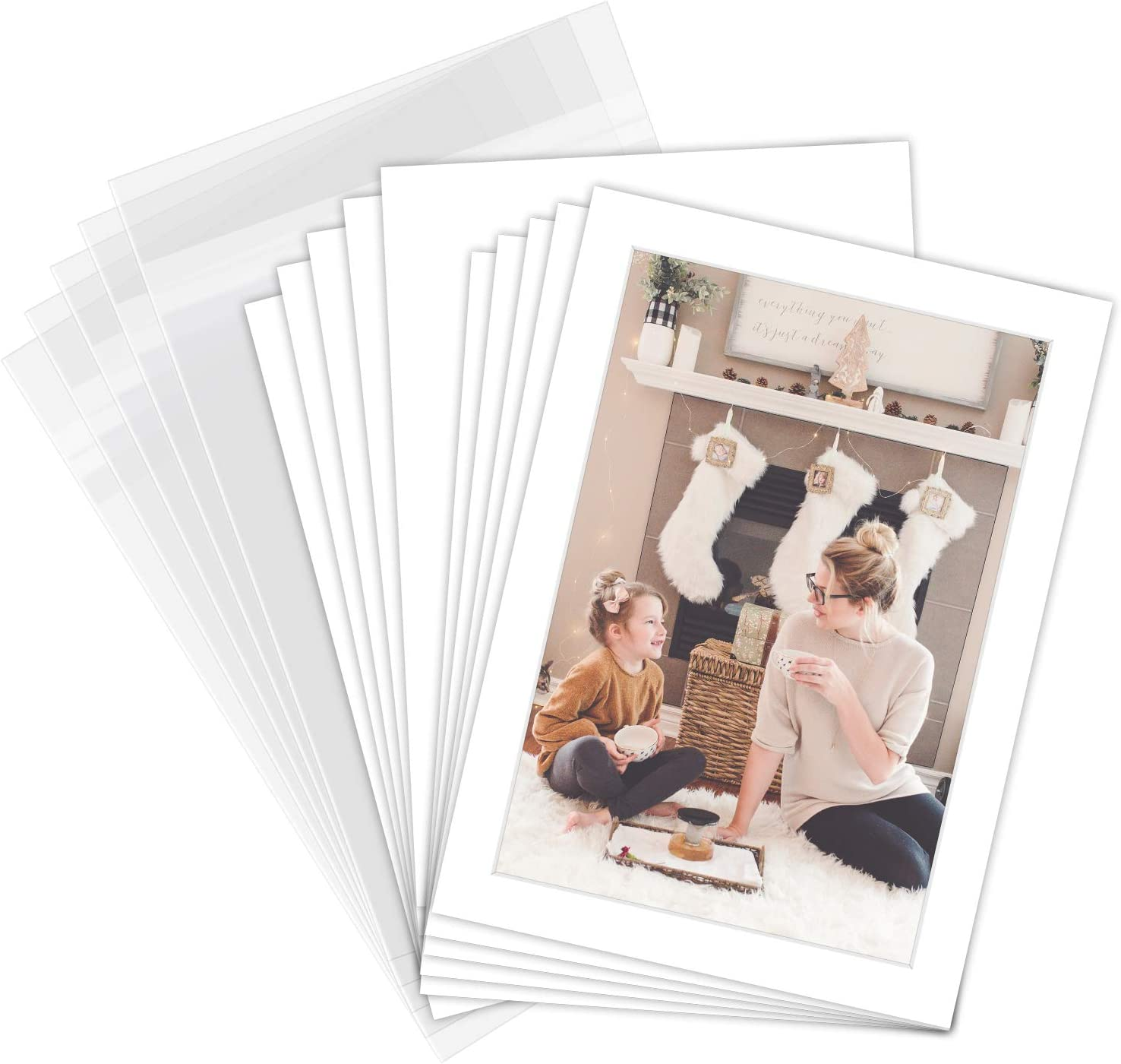 White Backing Board Uncut Photo Mat 5 x 7 Inches, 100 Pack