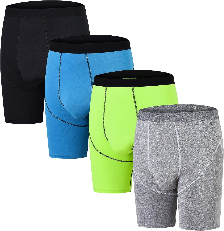 NEIKU Mens Underwear Sport Performance High Waist Boxer Briefs Compression Shorts