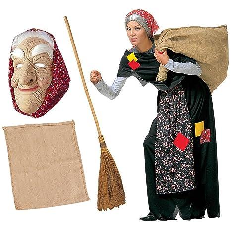 KIT Costume da BEFANA per adulti COMPLETO + SCOPA + SACCO + MASCHERA vestito  Epifania ( 3bf82f30865