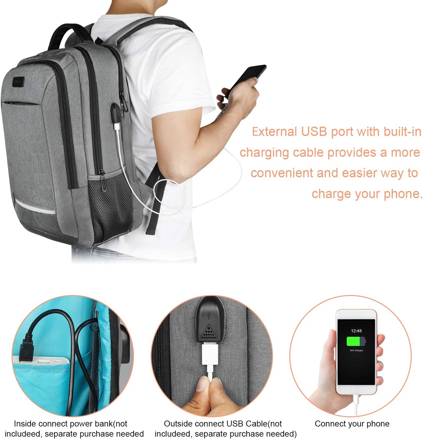 Laptop Backpack, JUKSTG Durable College School Laptop Bookbags With USB Charging Port, Business Computer Bag,Fits 15.6 Inch Laptop and Notebook, Grey