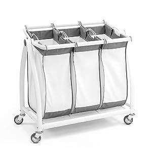 """Seville Classics Premium 3-Bag Heavy-Duty Tilt Laundry Hamper Sorter Cart, 34.4"""" W x 17.8"""" D x 33"""" H, White"""