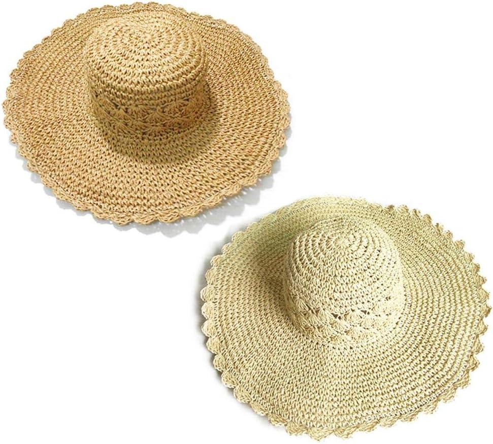 Luminiu Sonnenhut Gezeitengewebter weiblicher Sommer Sonnenschutz Sonnenhut-Strandhut des Strohhuts hohler gro/ßer Hut faltbar