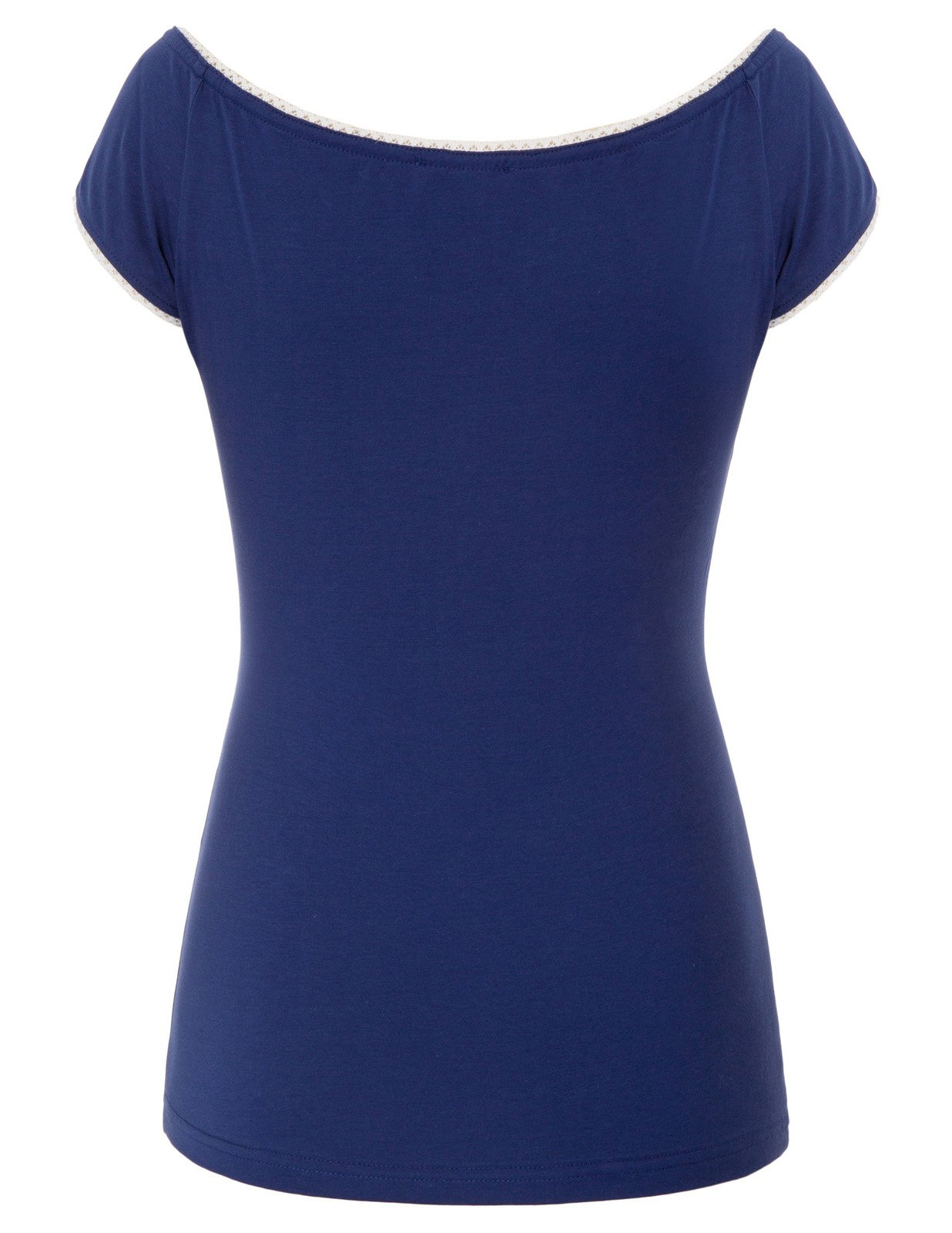 Belle Poque Women's Vintage Short Sleeve Tie Neck Tops Sexy T-Shirts Navy Blue Size M BP601-2 by Belle Poque (Image #2)