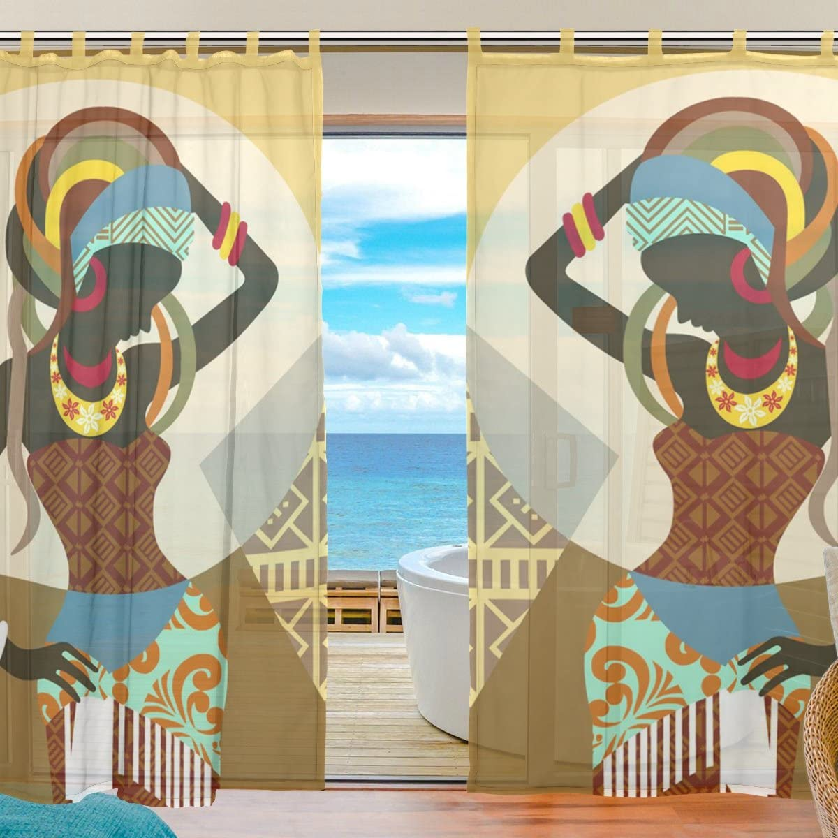 INGBAGS 2 PCS Bedroom Decor Living Room Decorations African Art Women Pattern Print Tulle Polyester Door Window Gauze Sheer Curtain Drape Two Panels Set 55×78 inch,Set of 2