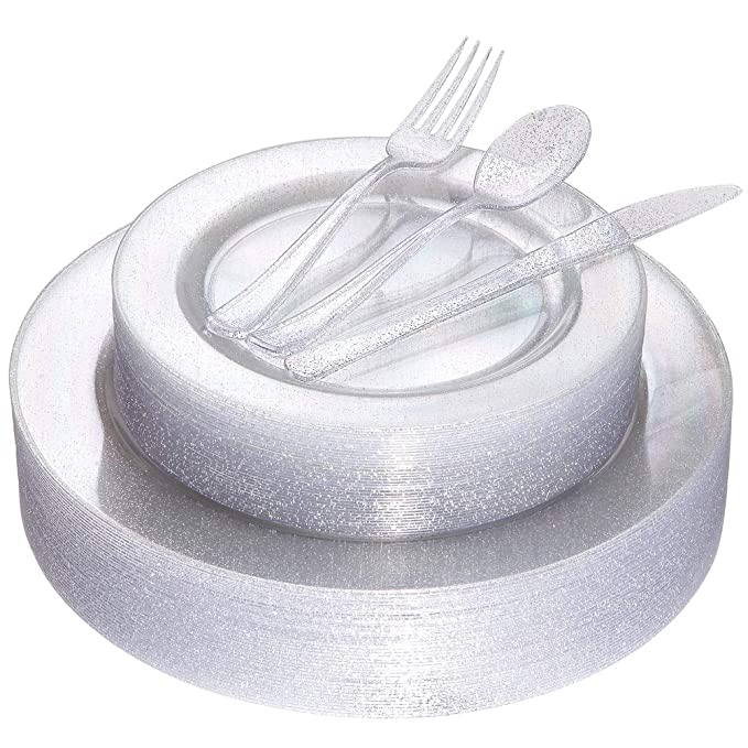 """Silver Glitter Plates with Disposable Plastic Silverware Service for 36 Guest, Clear Tableware Sets Includes 36 Dinner Plates 10.25"""", 36 Dessert Plates 7.5"""", 36 Forks, 36 Knives, 36 Spoons"""