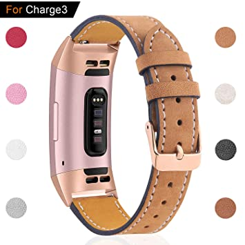 Hotodeal Leather Band Compatible with Fitbit Charge 3 Charge 3 SE, Classic  Replacement Genuine Leather Bands Metal Connectors Women Men Small Large