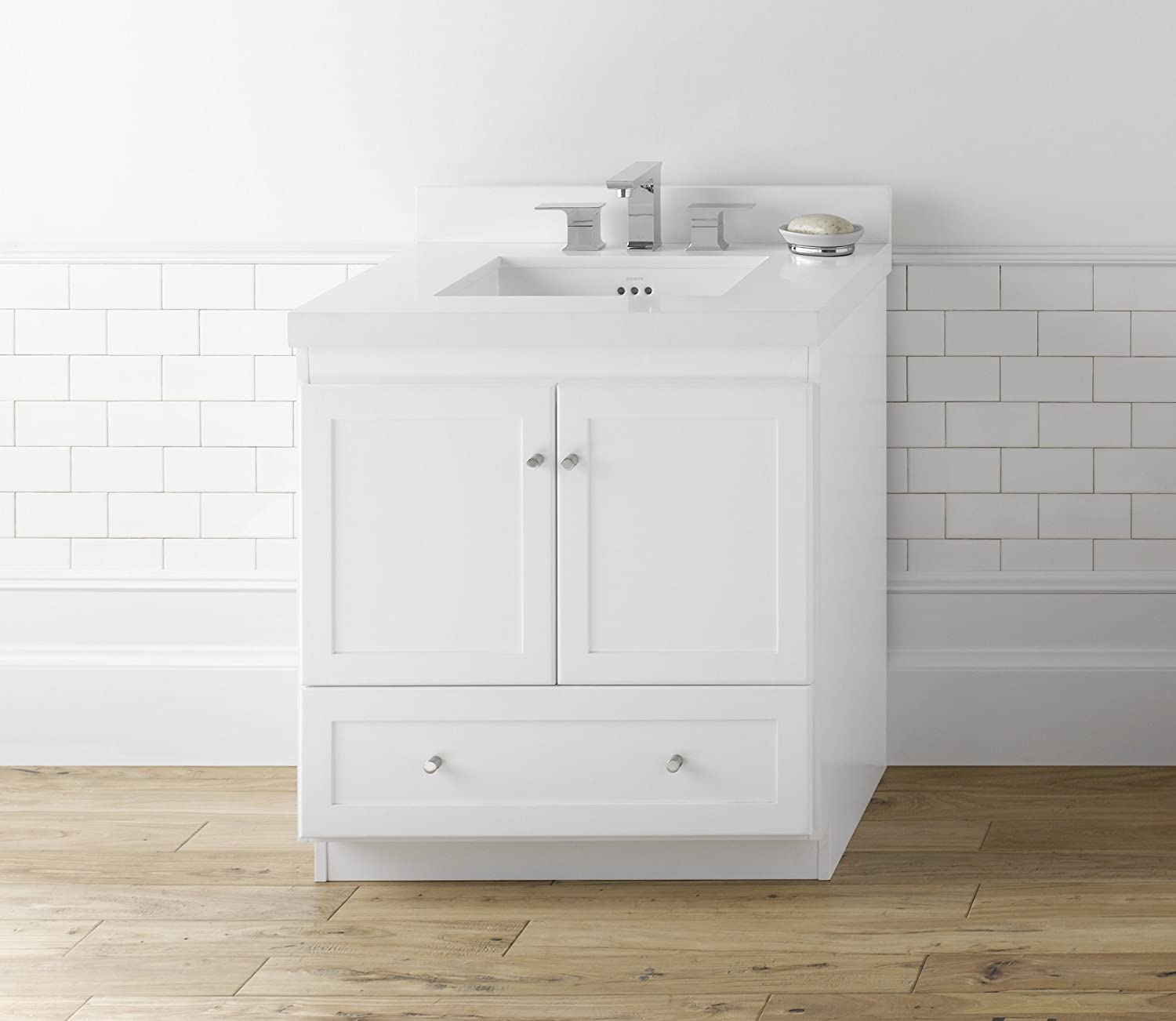 RONBOW Shaker 30 Inch Bathroom Vanity Base Cabinet With Soft Close Wood  Door, Cabinet Drawer And Adjustable Shelf In White 080830 3 W01      Amazon.com