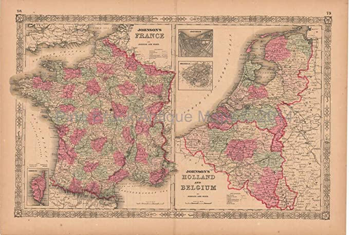 Map Of France And Holland Belgium.France Holland Belgium Antique Map Aj Johnson 1864 Authentic French