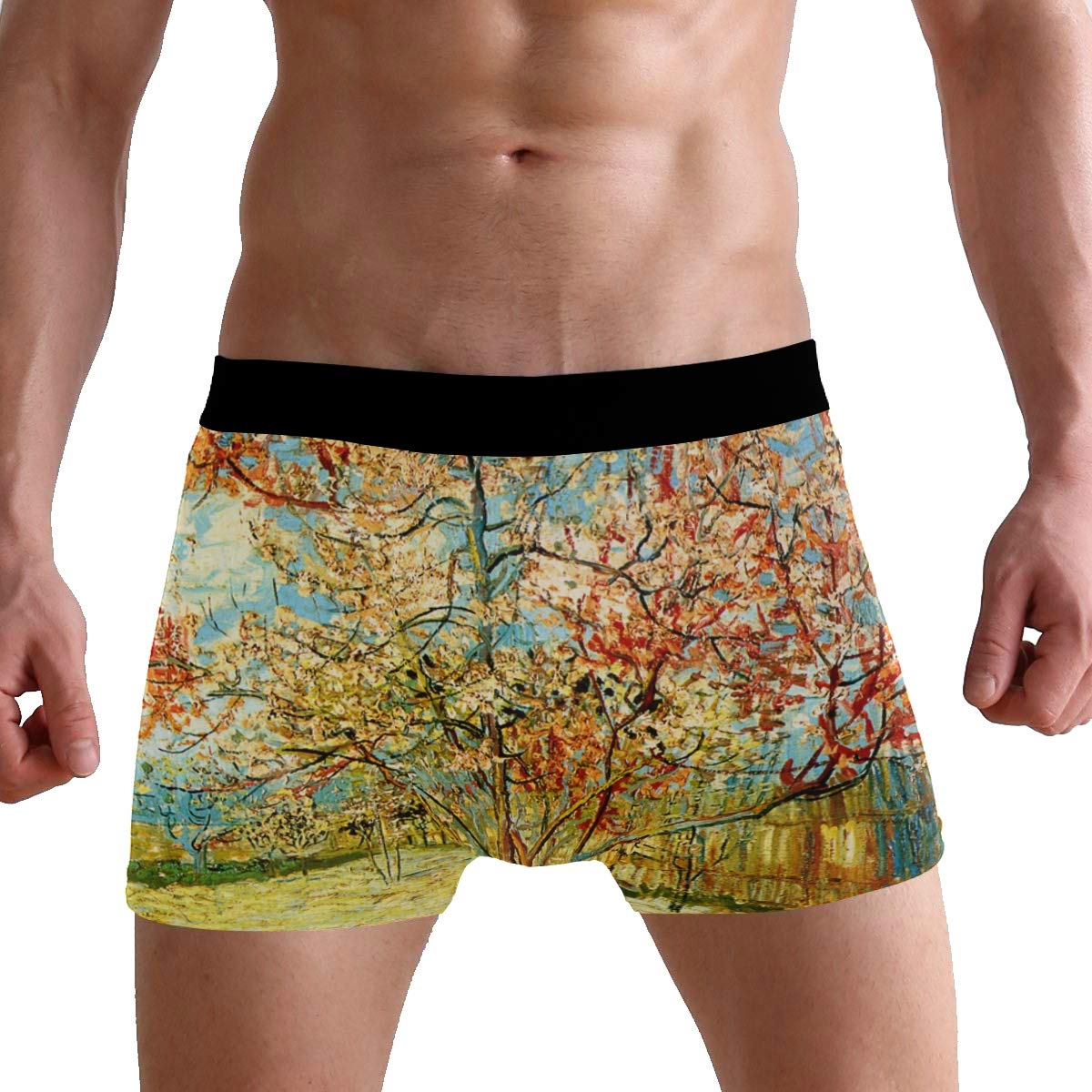 SUABO Men Boxer Briefs Polyester Underwear Men 2 Pack Boxer Briefs for Valentines Gift with Tree Pattern
