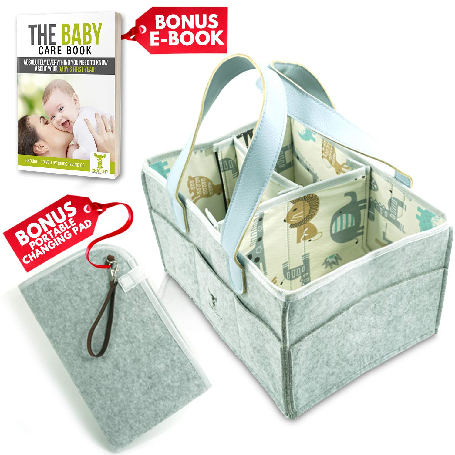 Chicchy & Co. Foldable Baby Diaper Caddy Organizer – Great Diaper Caddy Organizer with Changing Pad and My Baby's First Year E-Book