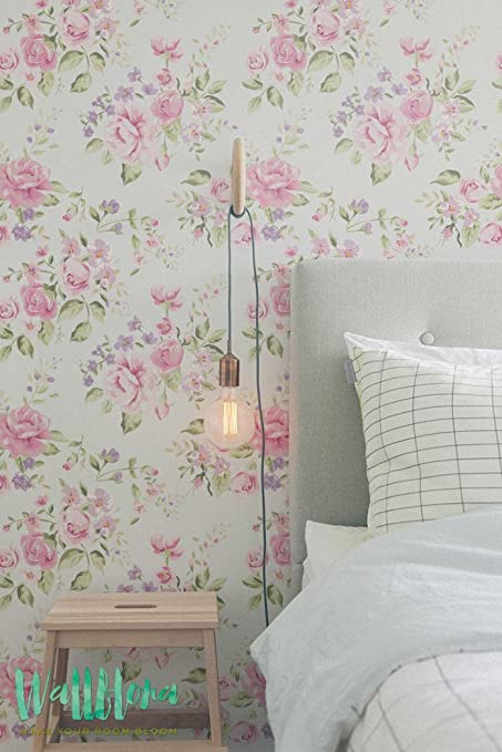 Jardin De Rosa Y Geranio Papel Pintado Para Pared Diseno De - Papel-pintado-para-pared
