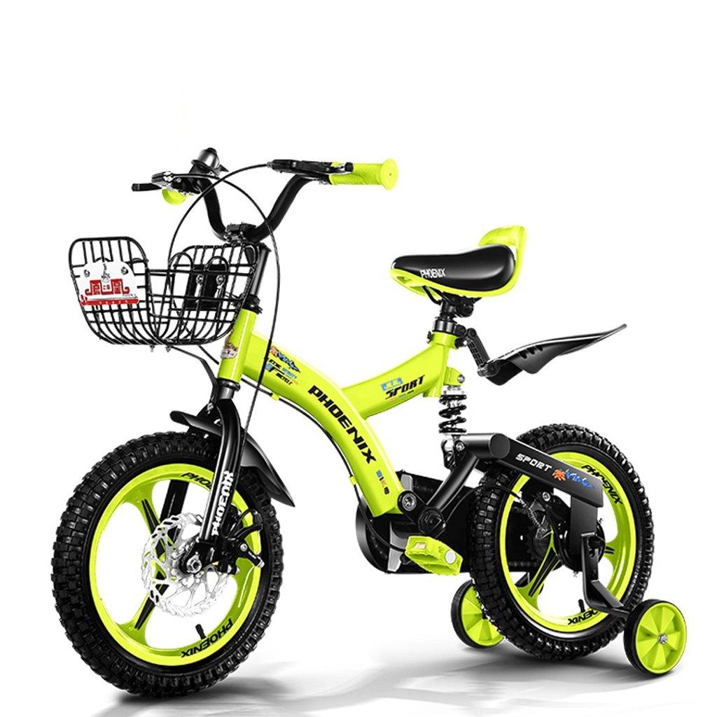 子供用自転車、3-8歳の男の子用自転車、ディスクブレーキ (Color : Fluorescent yellow, Size : 14 inch) B07CZJG6M8