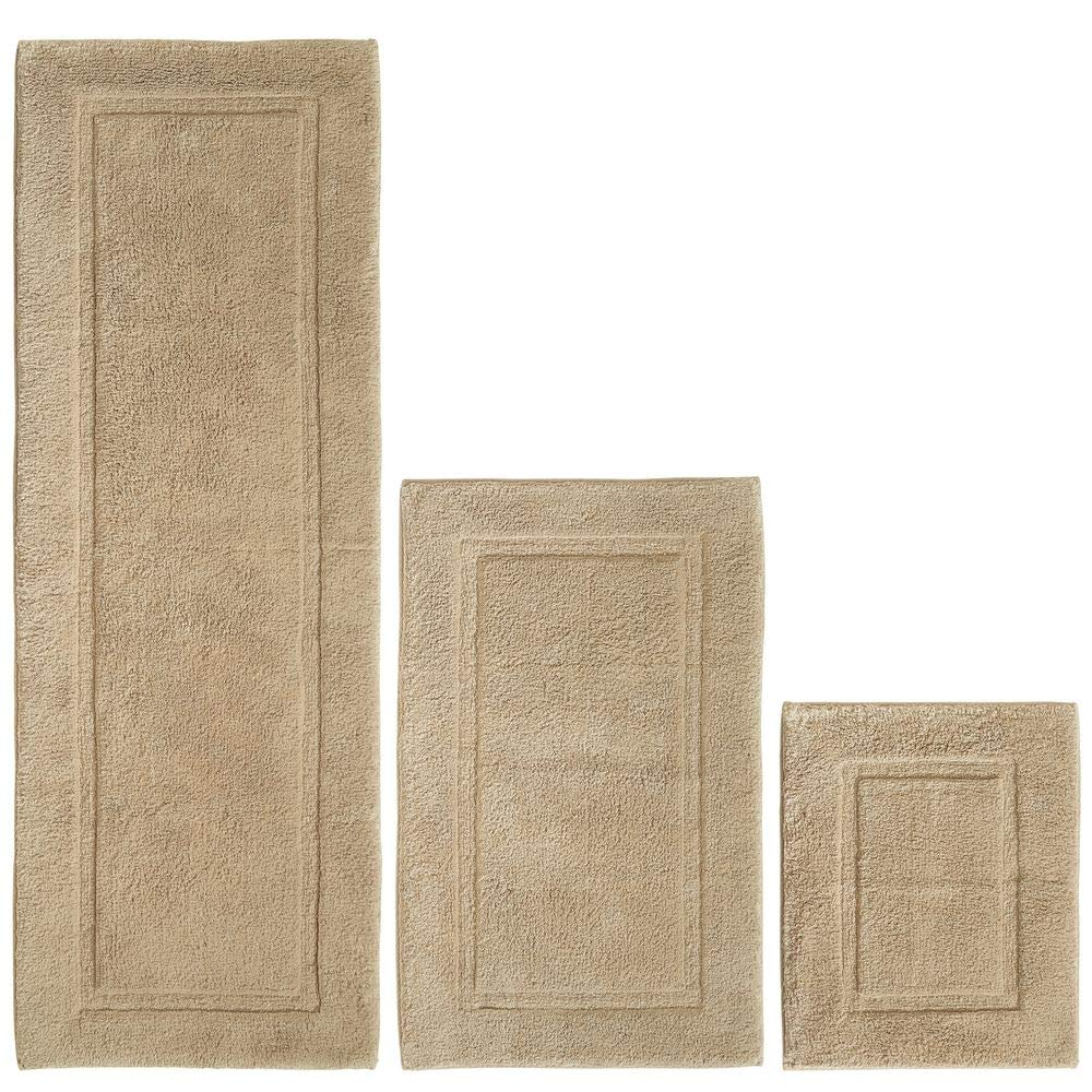 mDesign 100% Cotton Luxury Spa Mat Rugs, Plush Water Absorbent, Decorative Border - for Bathroom Vanity, Bathtub/Shower, Machine Washable - Runner, Standard & Small Rug - Set of 3 - Linen/Tan