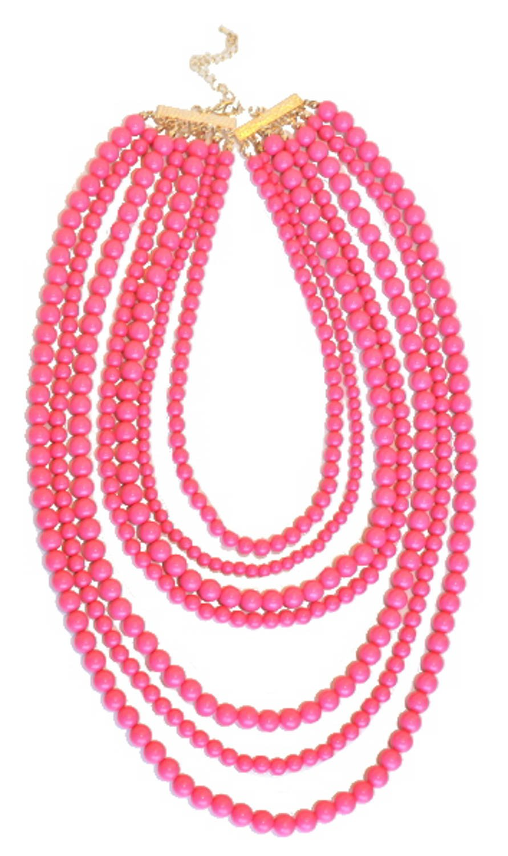 Purple Peridot Multi-Bead Laurel Necklaces-Bright Pink
