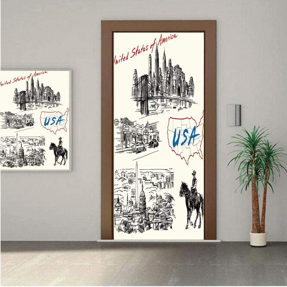 "American ONE Piece Door Stickers,Hand Drawn USA Map Nostalgic Landscapes Skyscrapers Cowboy with Horse Metropolis 28x80"" Peel & Stick Removable Wall Mural,Decal,Poster for Door/Wall/Fridge Home Decor"