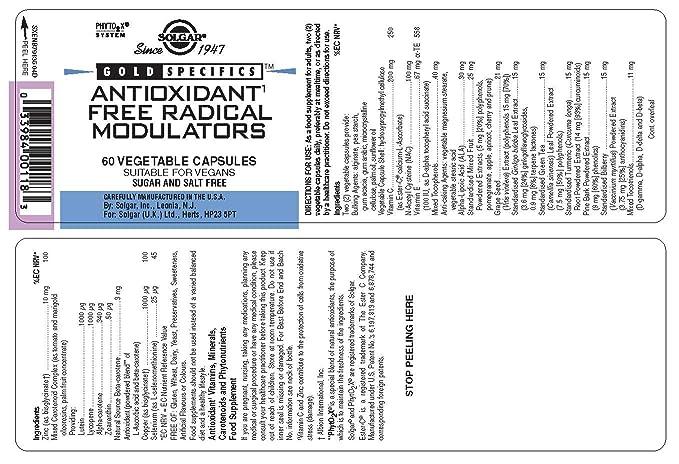 Solgar Gold SpecificsTM Antioxidant Free Radical Modulators Cápsulas vegetales - Envase de 60: Amazon.es: Salud y cuidado personal