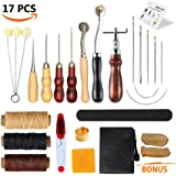 Leather Sewing Tools SIMPZIA 17 Pieces Leather Tools Carft DIY Hand Stitching Kit with Groover Awl Waxed Thimble Thread for Sewing Leather,Canvas or Other Leathercraft Projects