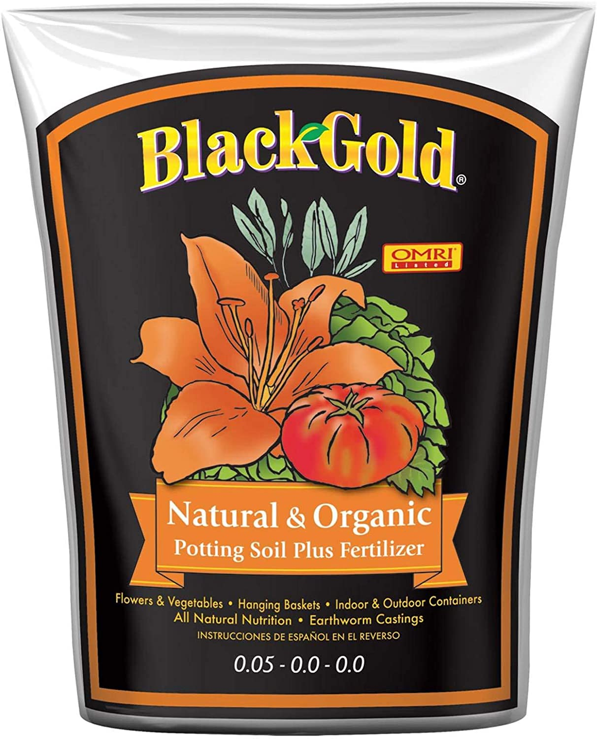 Sun Gro SUGRBG2 13020402 Black Gold Natural and Organic Soil, 2 Cubic Feet