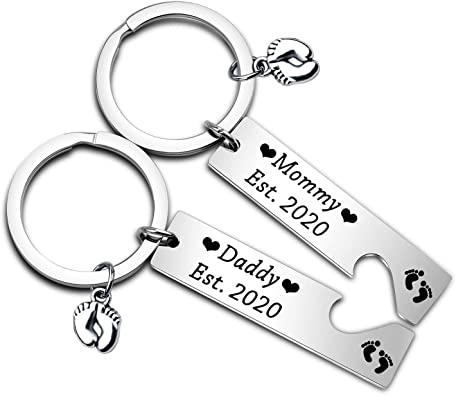 Mummy Mum To Be /& Daddy Dad To Be Pregnancy Charm Keyrings Baby Shower Gift