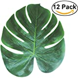 PartyWoo Tropical Palm Leaves 13-Inch Simulation Leaf for Hawaiian Luau Party Jungle Beach Theme Party Decorations,12-Pack
