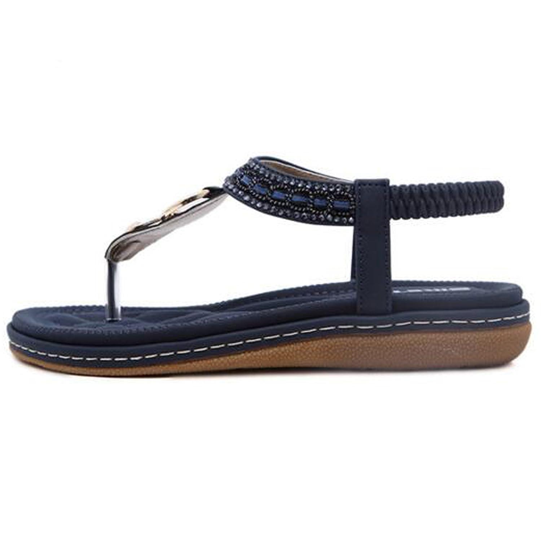 SUNAVY Damen Bling Strass Knöchelriemchen Sandalen,Böhmen Flache Sommer Strand Schuhe mit Metall Knopf Dekoration,Aprikosen,EU36