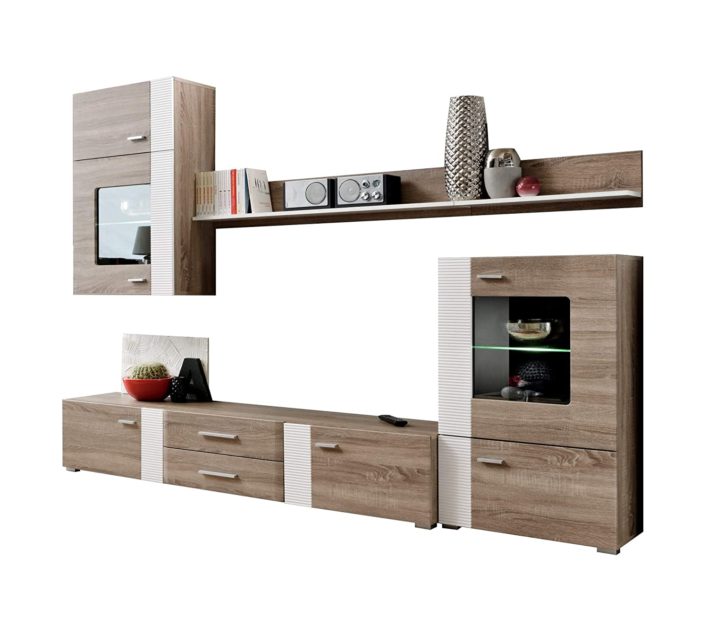 Mueble de salón Monica Color truflowy/Blanco con led ...