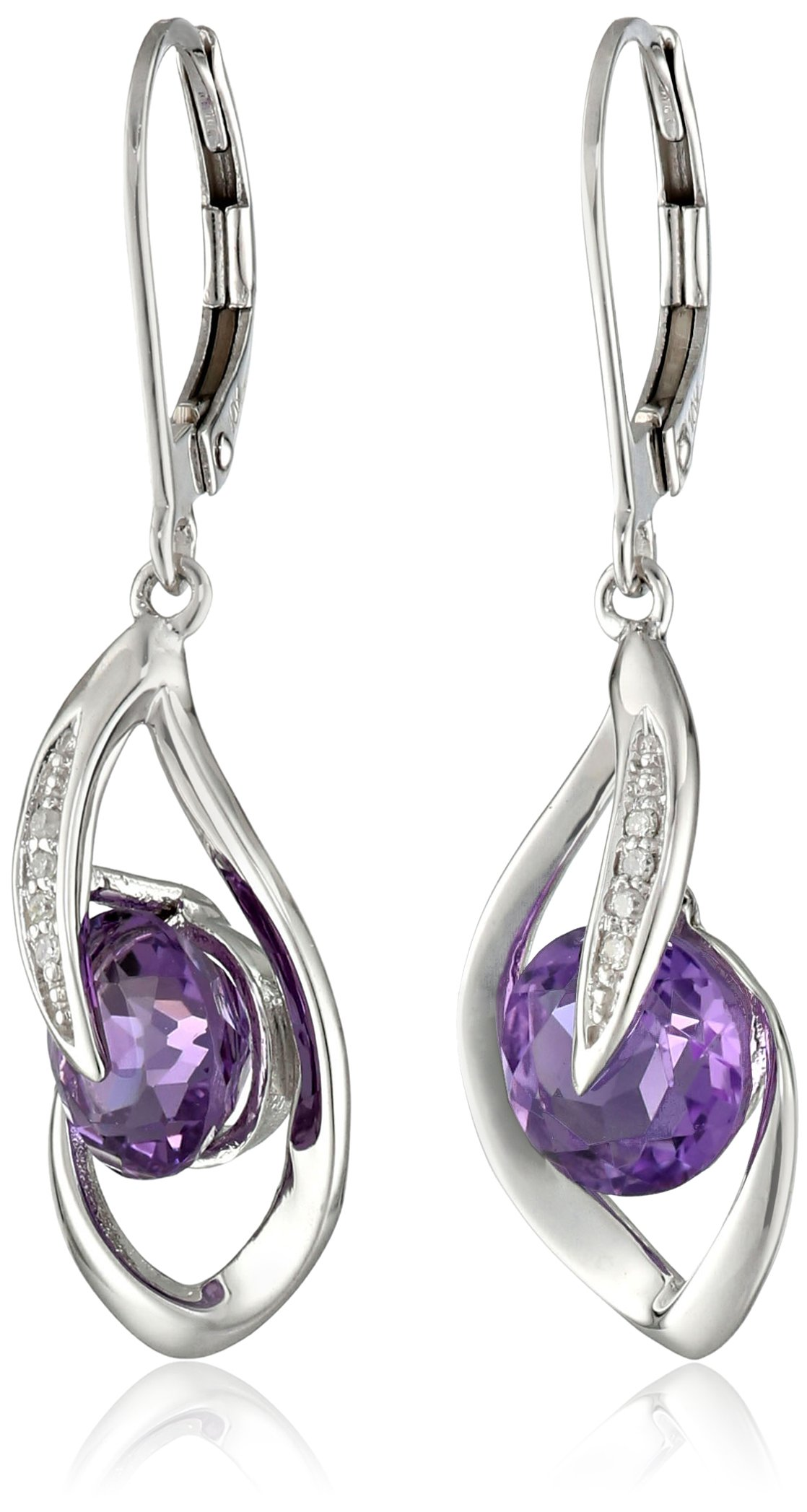 10k White Gold Amethyst and Diamond Accent Flame Drop Earrings