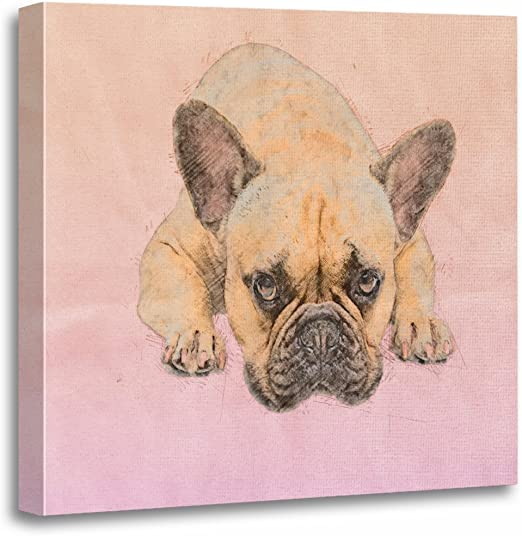 French Bulldog Frenchie Pink Canvas Foldable Storage Box With Lid