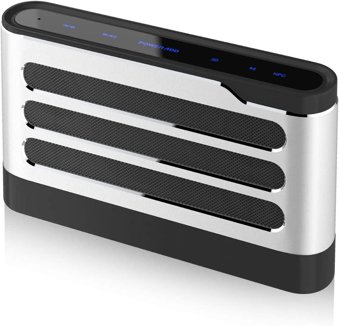 DSP POWERADD Soundfly Bluetooth Speaker 40W Loud Volume Rich Bass Portable Sensitive Touch Control Wireless Speaker with Digital Sound Field Processing Surround Stereo Sound for Indoor//Outdoor-Silver